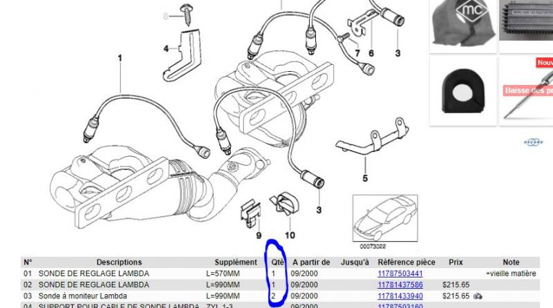 Sonde Lambda lamdasonde règle sonde BMW 120i 320i 540i 550i 650i 740i 740li 750i